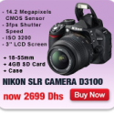 Nikon D3100 DSLR + 18-55mm + 4GB card + Case