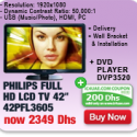 Philips 42″ LCD TV + DVD Player (FREE Delivery + Wall Bracket & Installation)